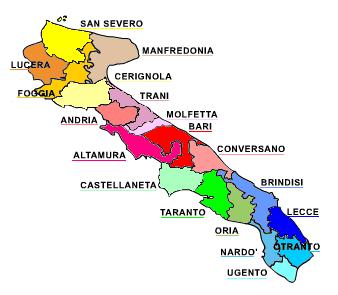 Cartina Puglia Oria.Regione Ecclesiastica Puglia Wikipedia