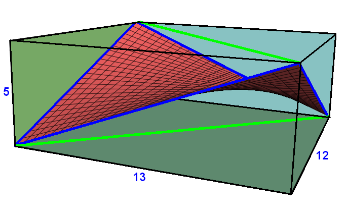 saddlerectanglehas4nonplanarvertices,lternationgeometryalternatedfromverticesofacuboid,withauniqueminimalsurfaceinteriordefinedasalinearcombinationofthefourvertices,creatingasaddlesurface.hisexampleshows4blueedgesoftherectangle,andtwogreendiagonals,allbeingdiagonalofthecuboidrectangularfaces.