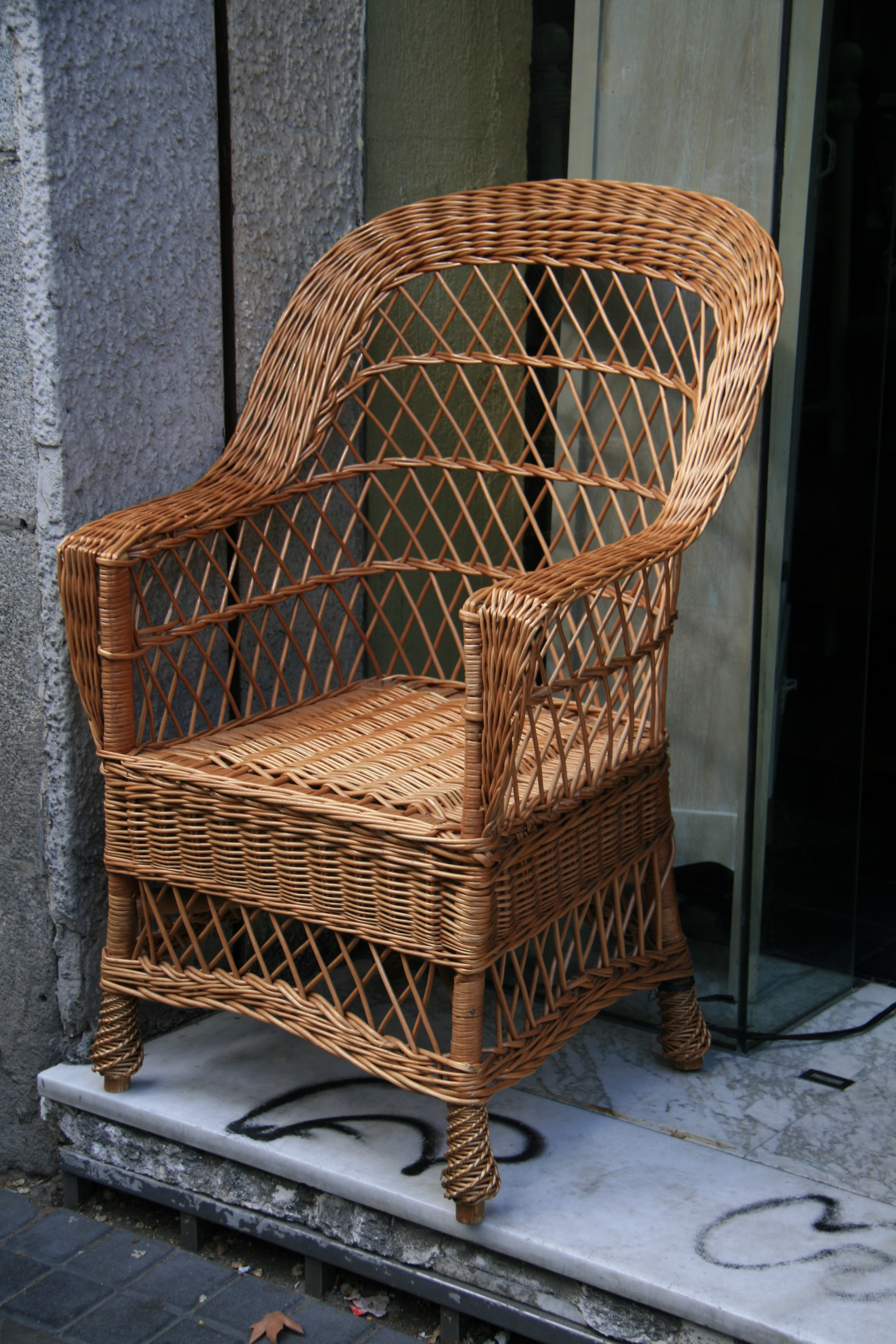 Empty wicker chair