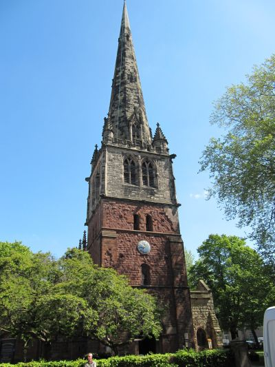 The bell tower of St Mary's Church Shrewsbury