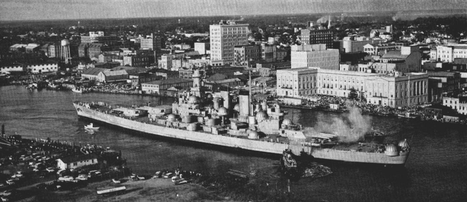 File:USS North Carolina (BB-55) being towed to Wilmington in 1961