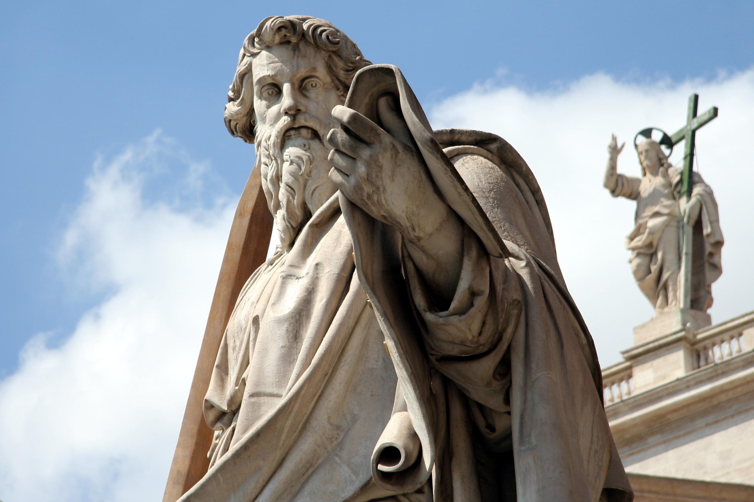 statue des apostels paulus vor dem petersdom adamo tadolini 1838 - Paulus Lebenslauf