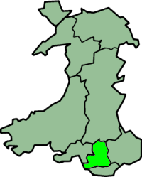 Mid Glamorgan shown within Wales as a preserved county