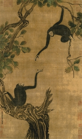 Файл:Yi-Yuanji-Two-gibbons-in-an-oak-tree.jpg