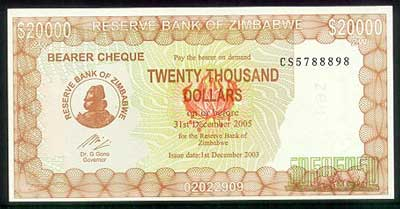 20000 2003 DOLLARS ZIMBABWE 20,000 CIRCULATED BEARER CHEQUES