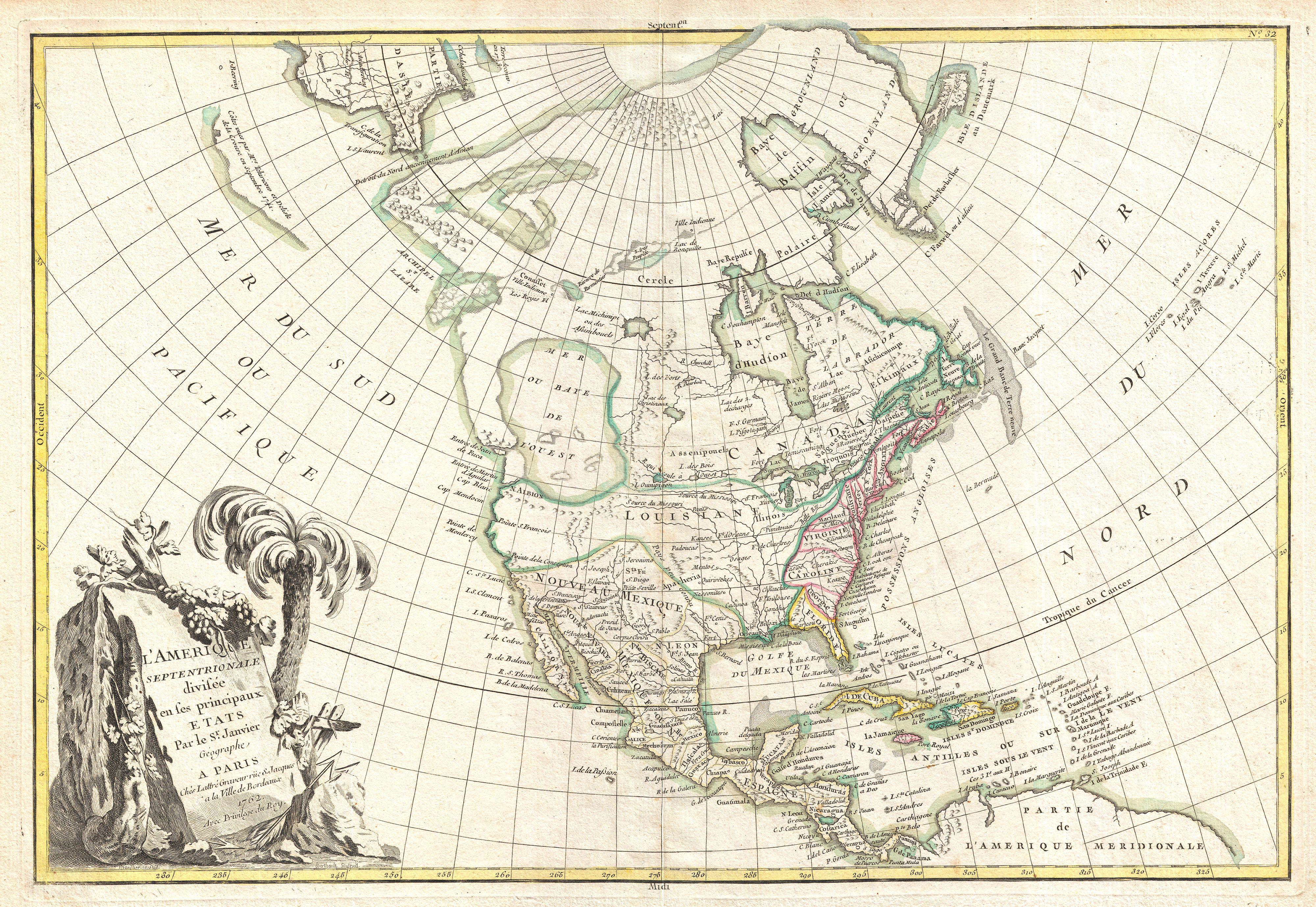 Old North America Map.File 1762 Janvier Map Of North America Sea Of The West