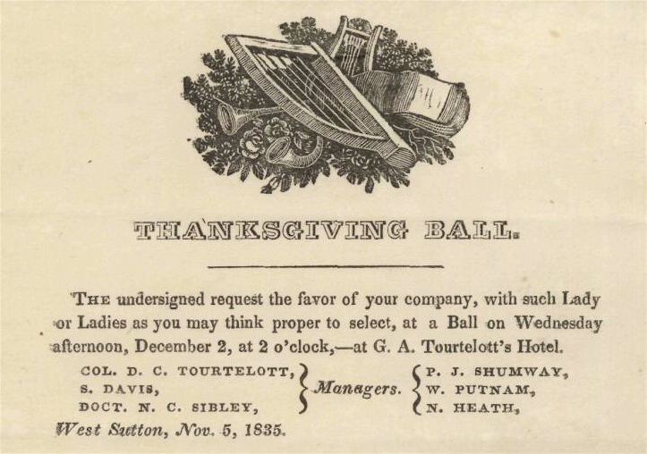 1835 Thanksgiving Ball West Sutton Massachusetts