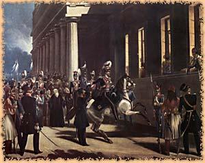 Coup d'État du 3 septembre 1843. Dimitrios Kallergis est au centre, à cheval. Le roi Othon, en costume grec est à la fenêtre, ainsi que la reine Amalia.