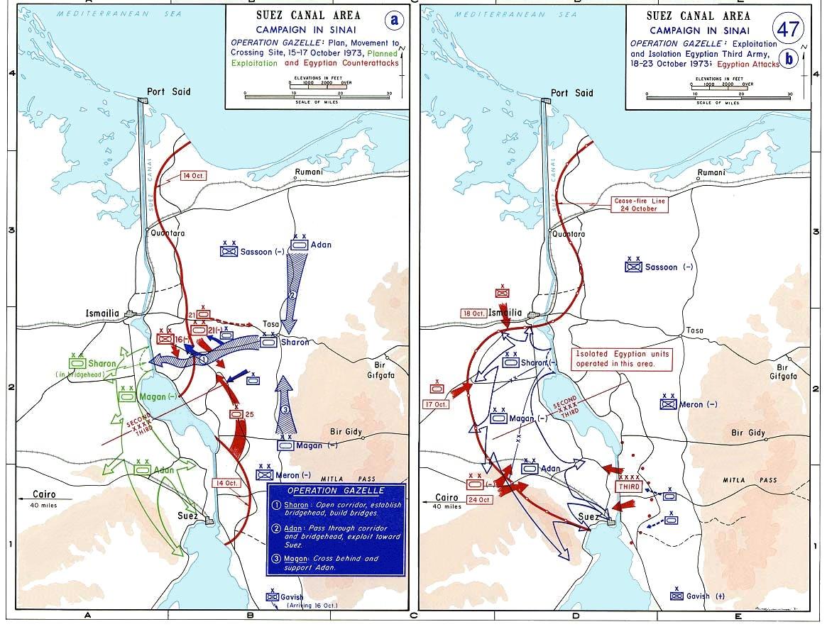 Działania na froncie synajskim 15 października – 23 października 1973 r. / Źródło: Wikimedia Commons