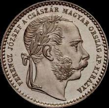 AHGkr hun 10 1867 mintmark on reverse obverse
