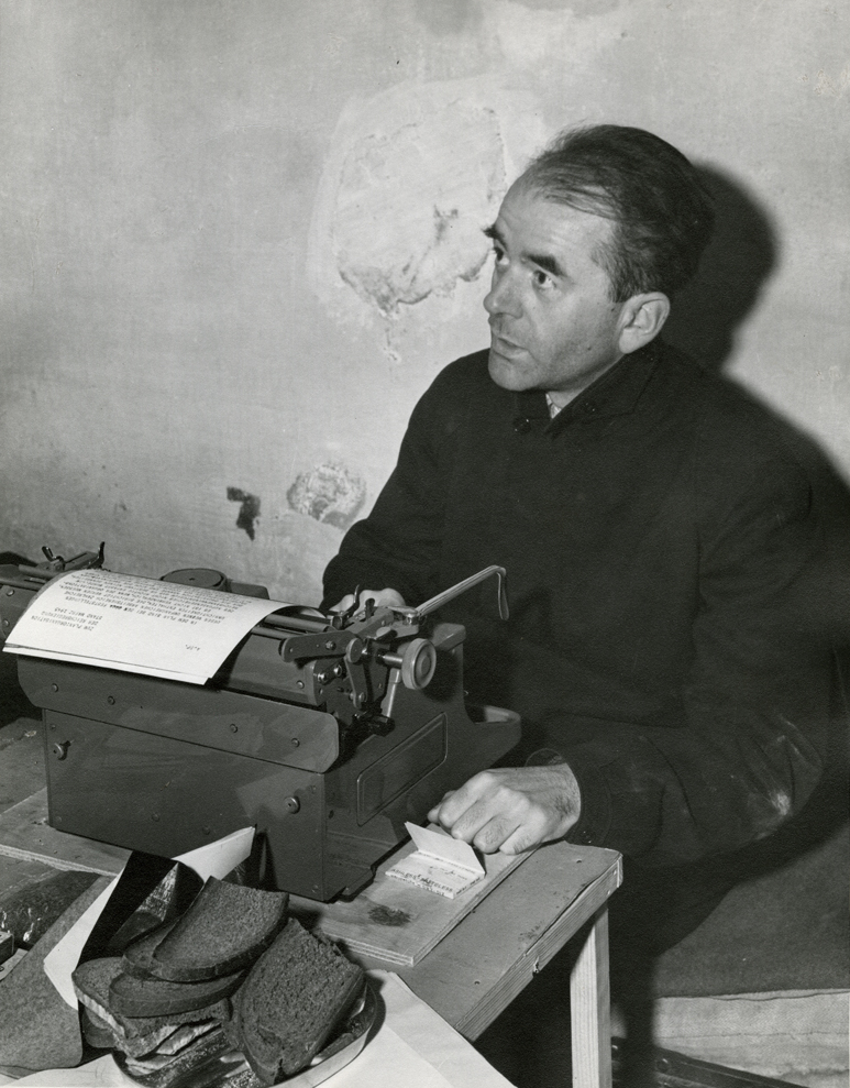 A captured Albert Speer is photographed in his cell at Nuremberg, during the Nuremberg trials.