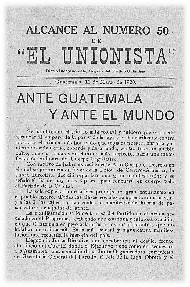 11 de marzo de 1920: manifestación contra Manuel Estrada Cabrera