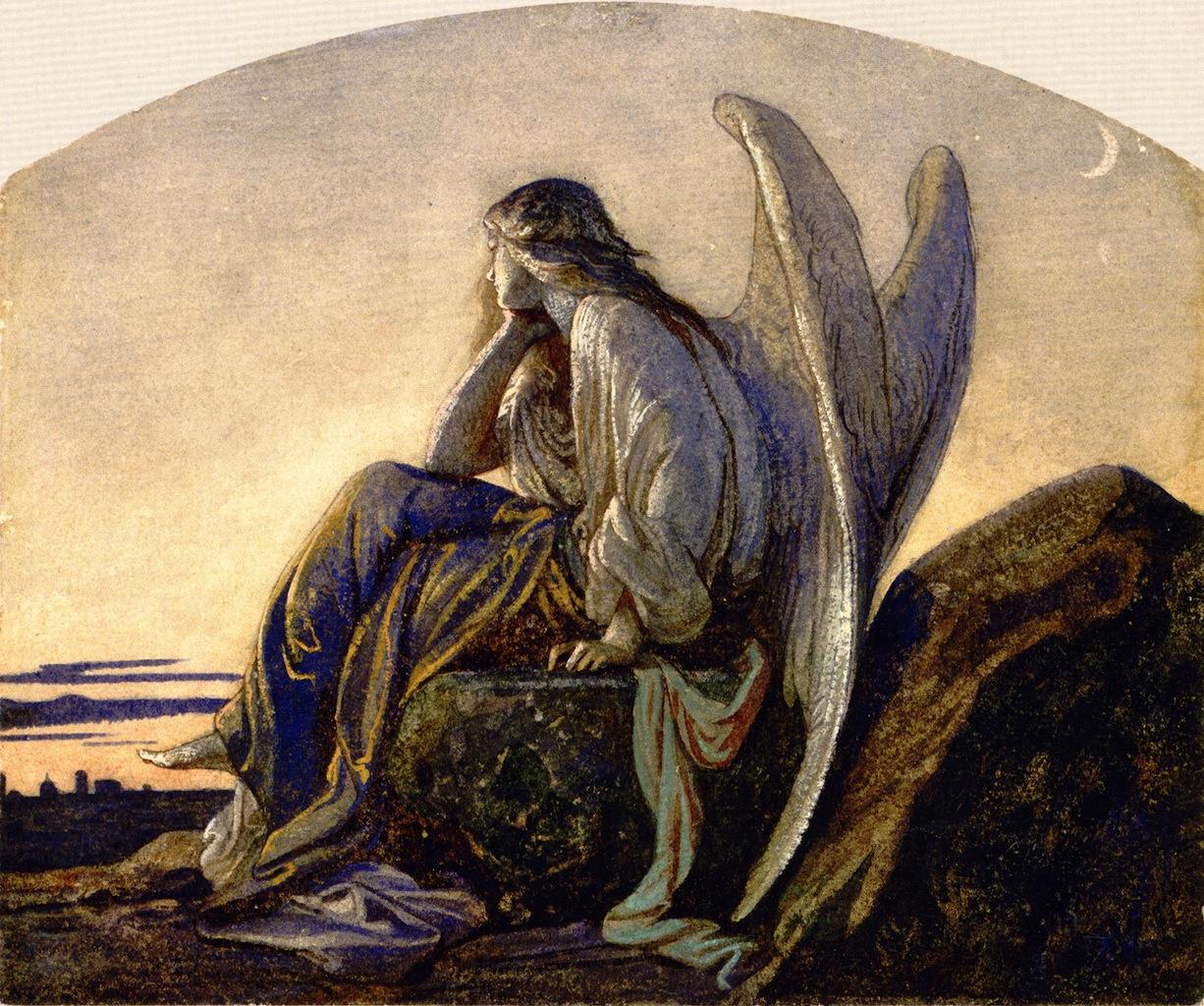 天使の絵画黄昏の天使