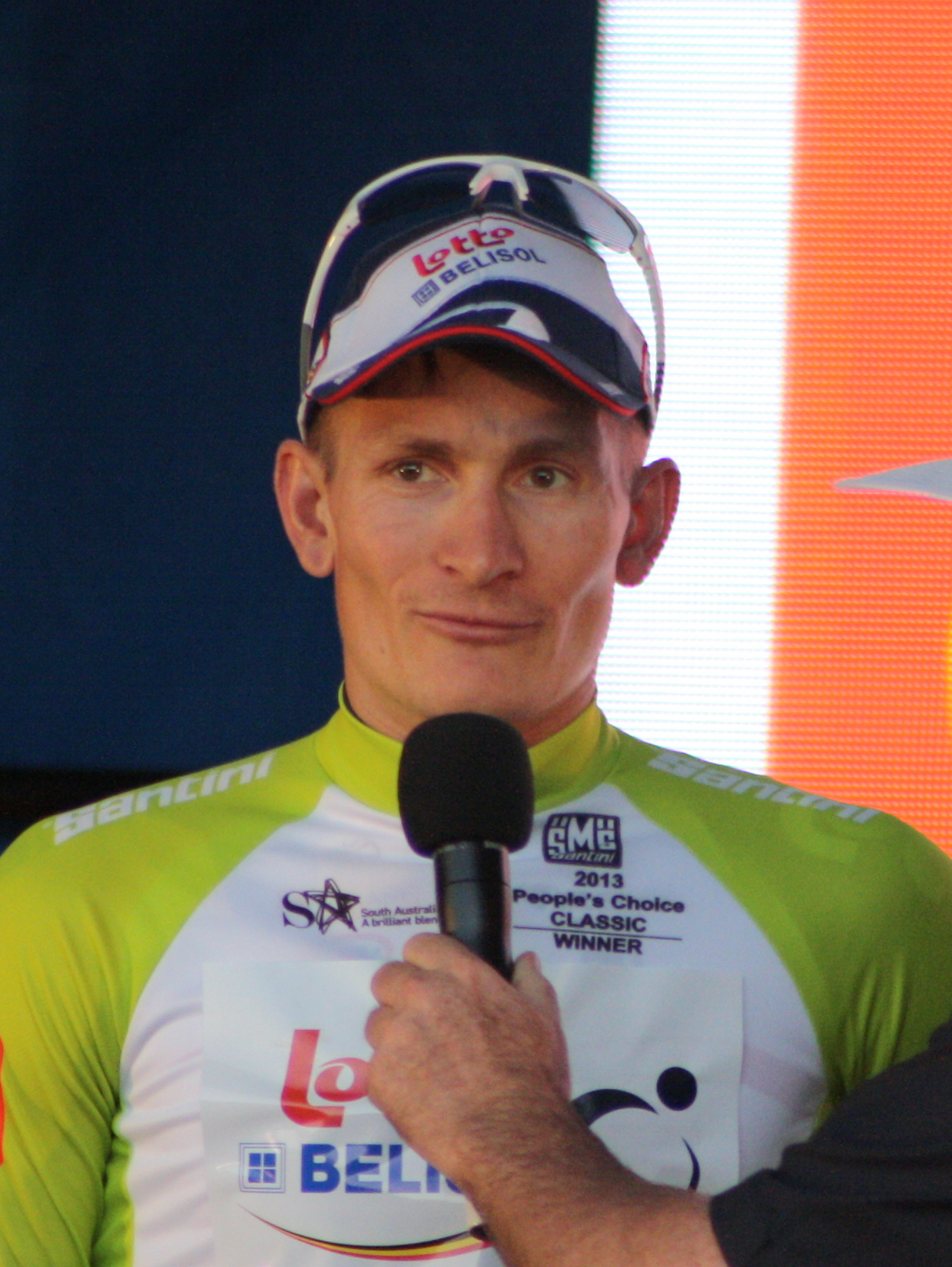 The 34-year old son of father (?) and mother(?), 184 cm tall André Greipel in 2017 photo