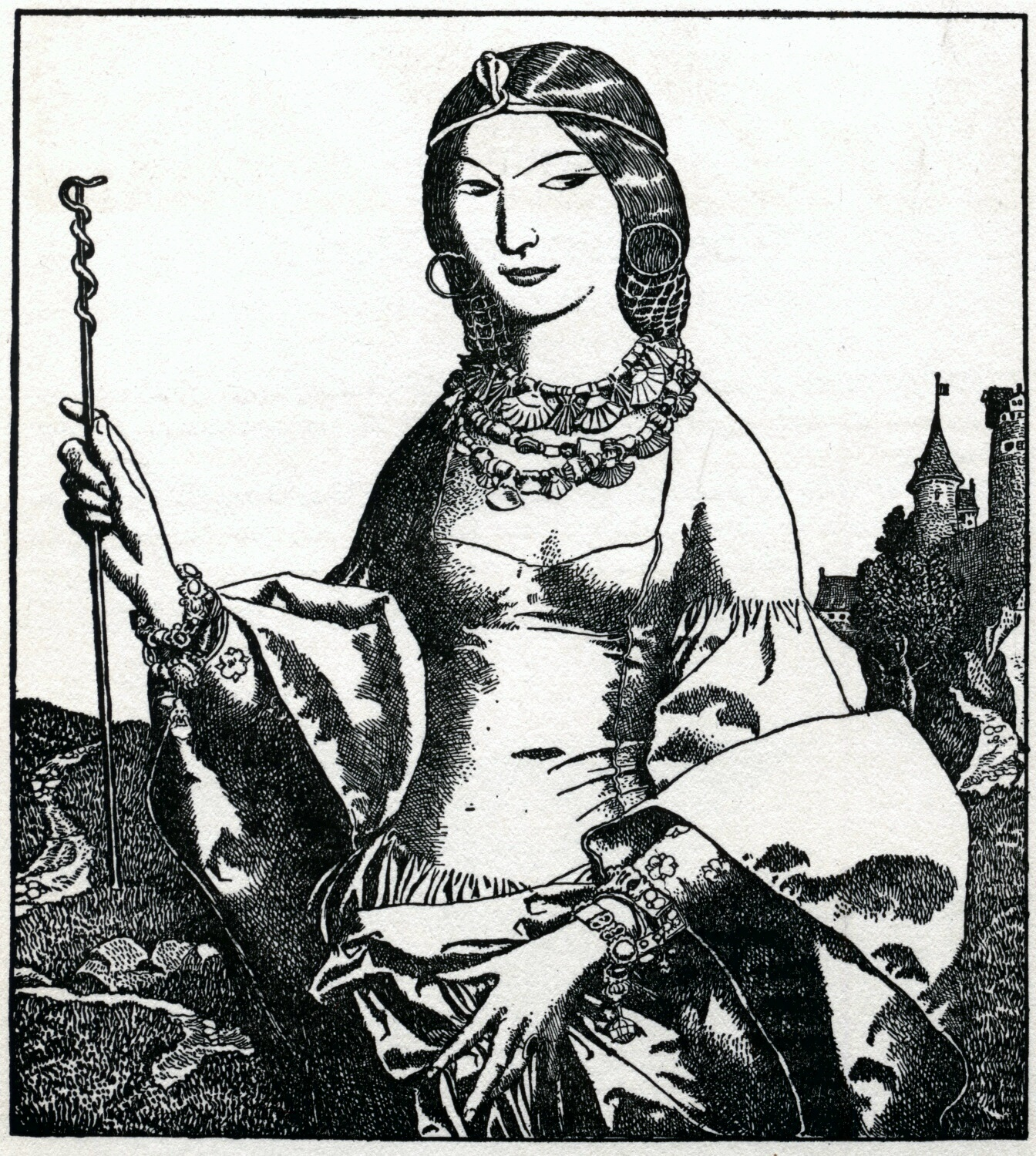 Black & white engraving of a beautiful enchantress
