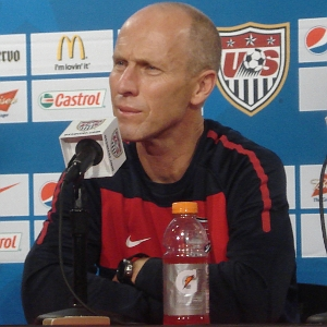 US head coach Bob Bradley at a pre-match news ...