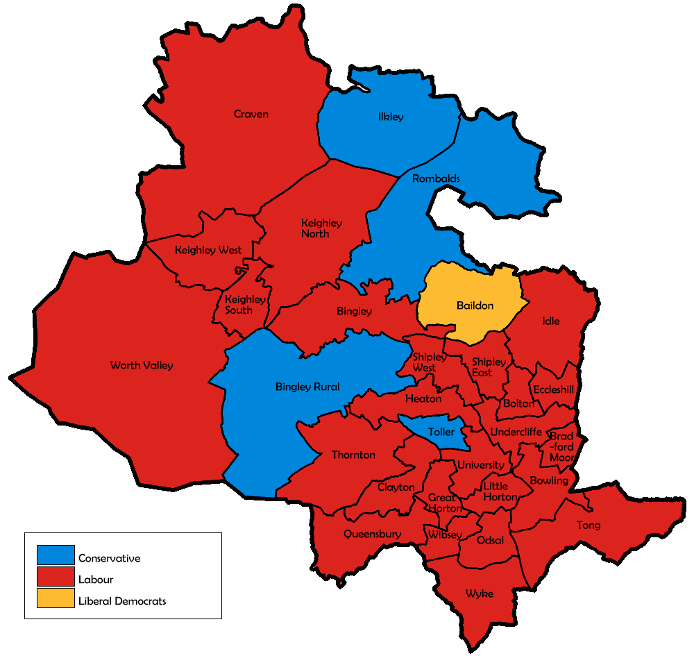 Map of the results for the 1995 Bradford council election.