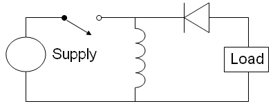 The basic schematic of an inverting buck-boost converter. Buck boost.png