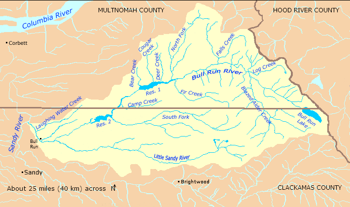 FileBull Run River Oregon Watershed Mappng Wikimedia Commons - Oregon rivers map