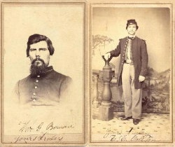Two Examples Of Carte De Visite Photographs Taken During The American Civil War Each Soldier Shown Here Served With 77th Illinois Volunteer Infantry