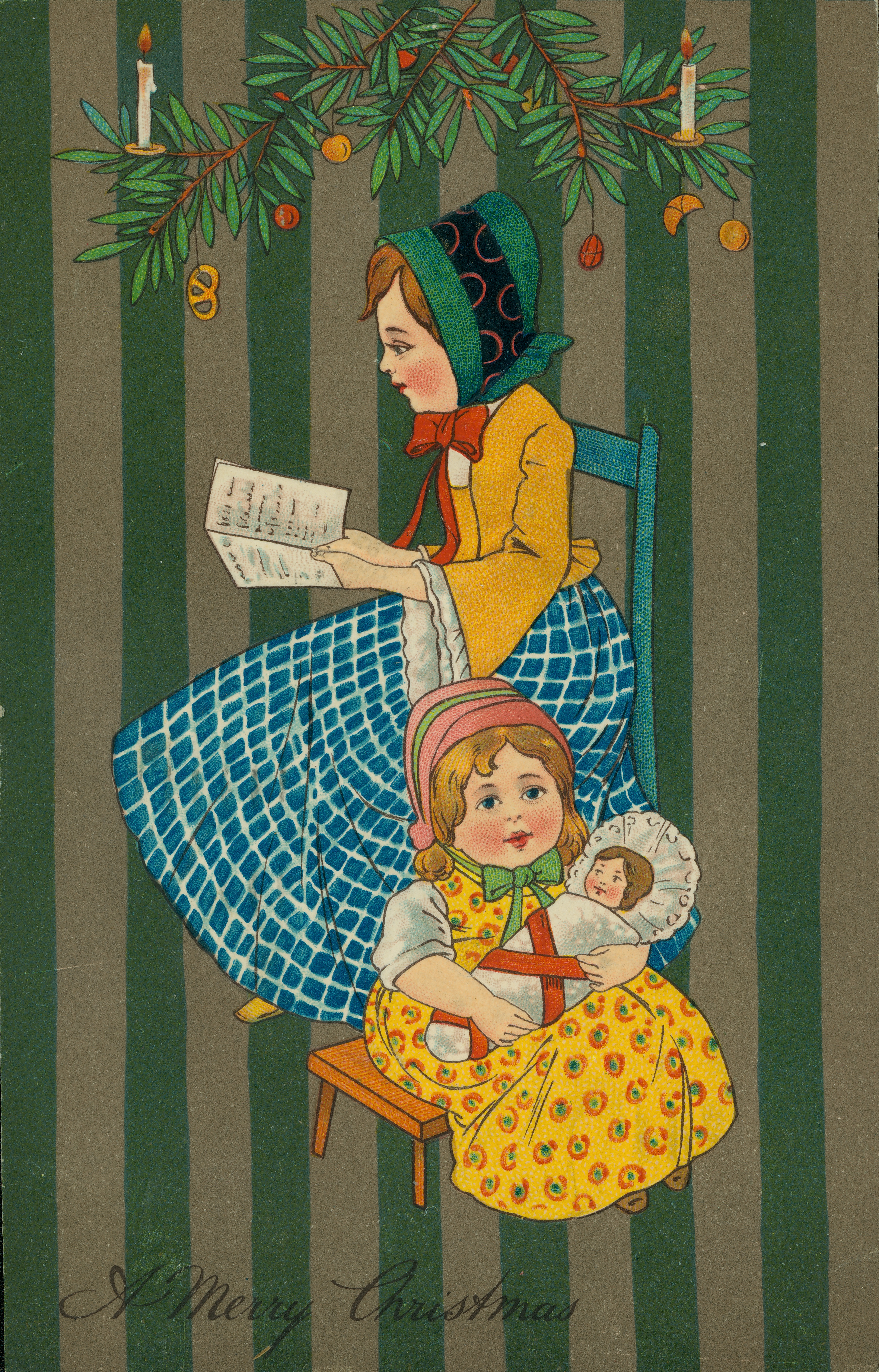 """Christmas postcard with two seated girls; older one in chair reading book, toddler on stool holding swaddled baby doll, decorated evergreen branches at top, with """"A Merry Christmas"""" at bottom, striped background"""