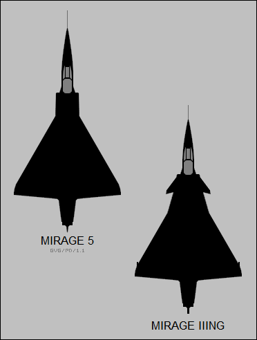 Dassault Mirage 5 and Mirage IIING top-view silhouettes.png