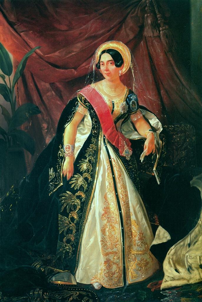 Графиня Паскевич в официальном придворном платье статс-дамы на портрете Н. Г. Шильдера