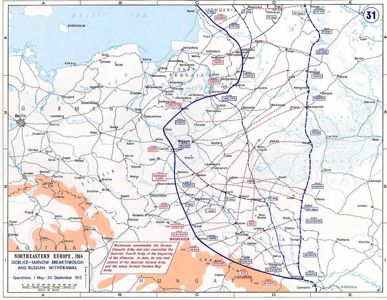 Rückzug der russischen Truppen zwischen Mai (blaue Frontlinie) und September 1915 (blau gestrichelte Frontlinie)