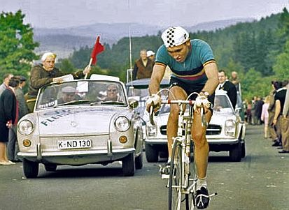 Merckx finished in twelfth position in the men's road race at the 1966 UCI Road World Championships. Eddy Merckx 1966.jpg