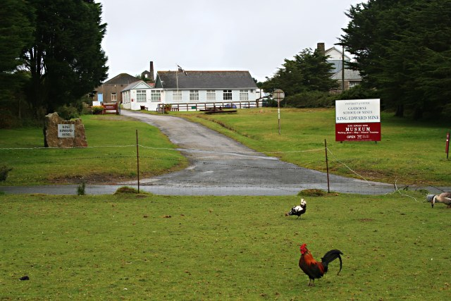 Entrance to the King Edward Mine Museum with Chickens - geograph.org.uk - 529256