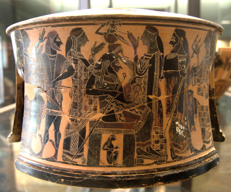Mètis est représentée en tout petit, sous le siège de Zeus