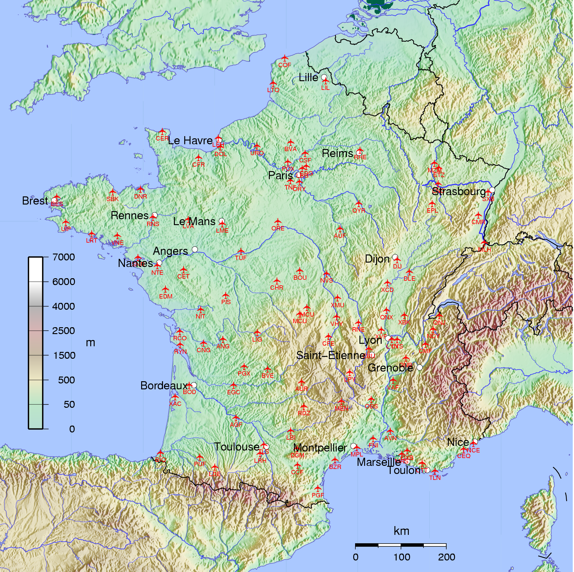 french international airports map List Of Airports In France Wikipedia french international airports map