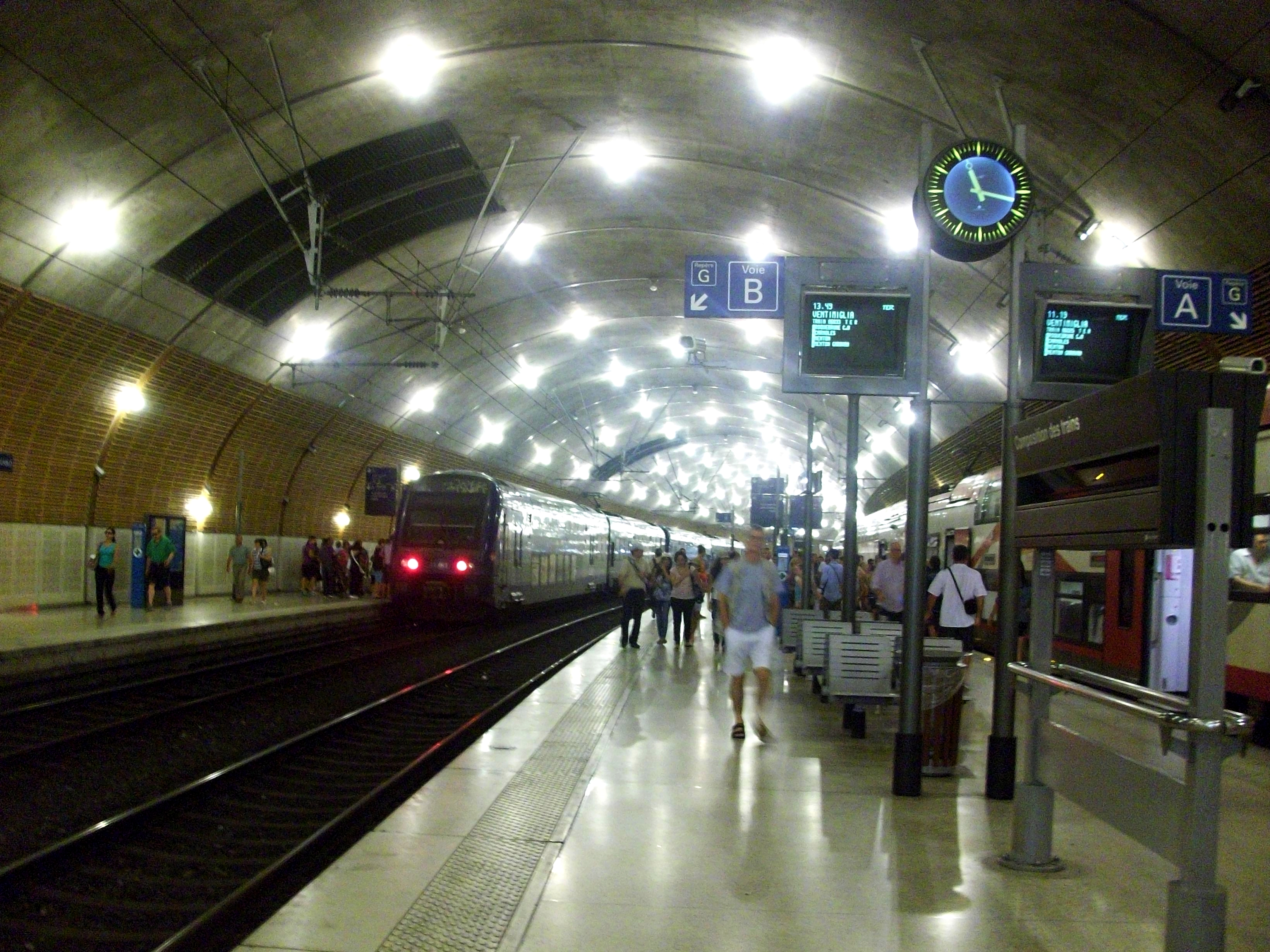 Monaco Monte Carlo Train Station Train Waiting in Monaco-monte