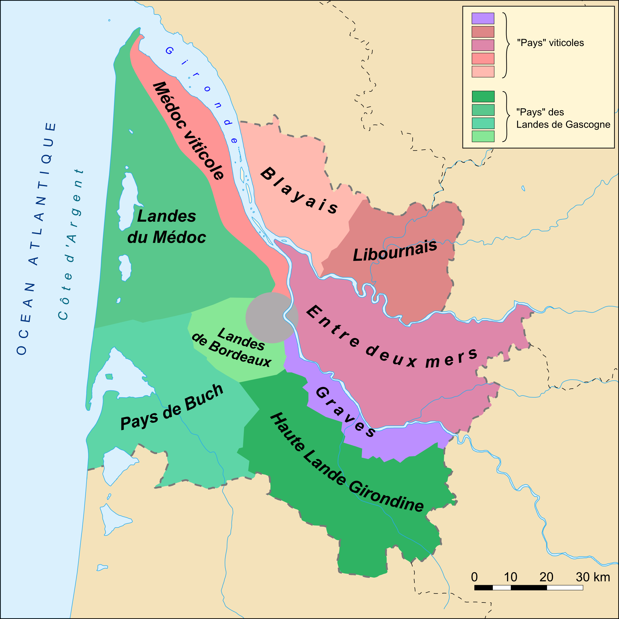 Carte du vignoble de Bordeaux