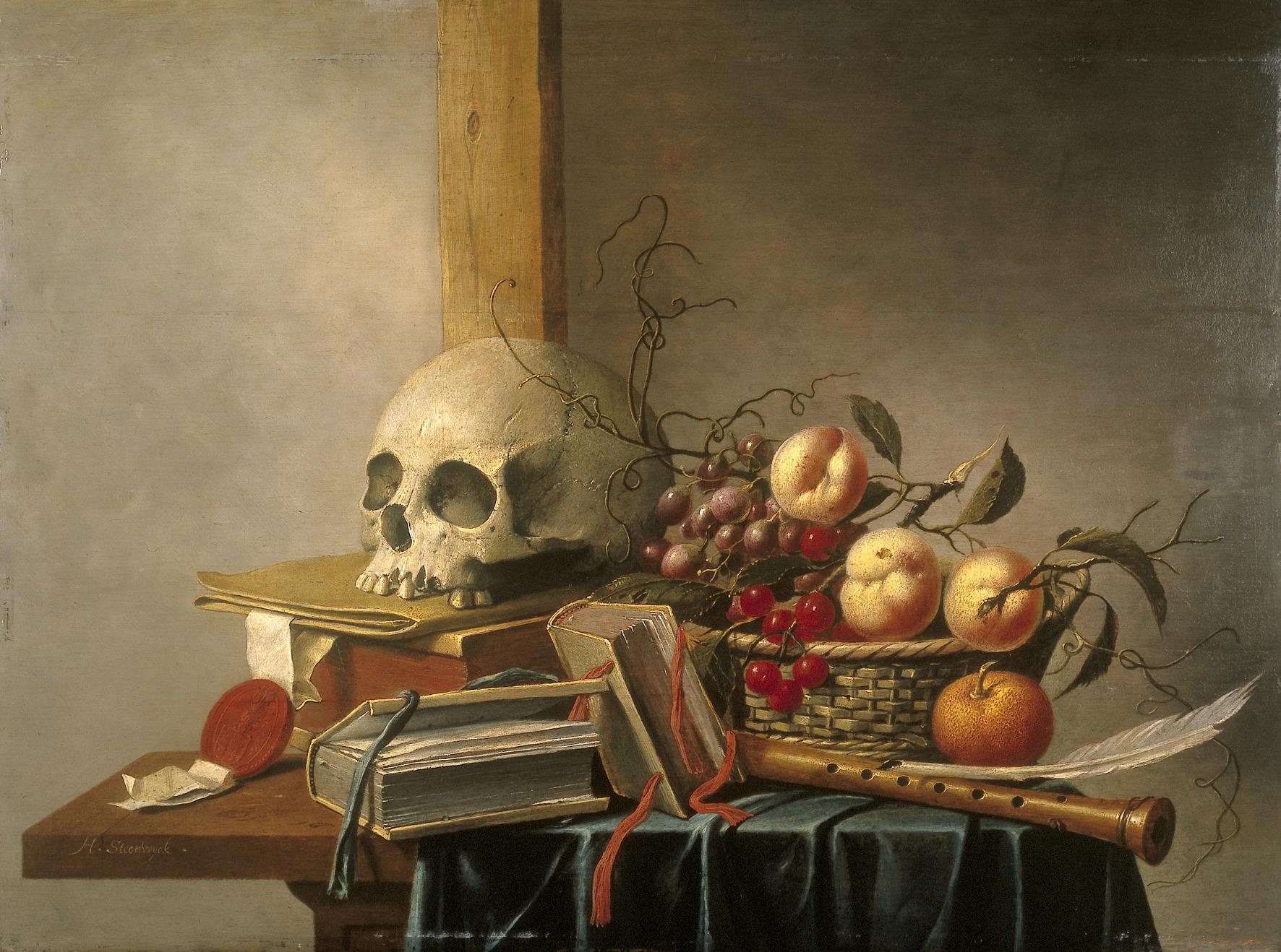 File:H. van Steenwijck - Vanitas stilleven met schedel, boeken en ...