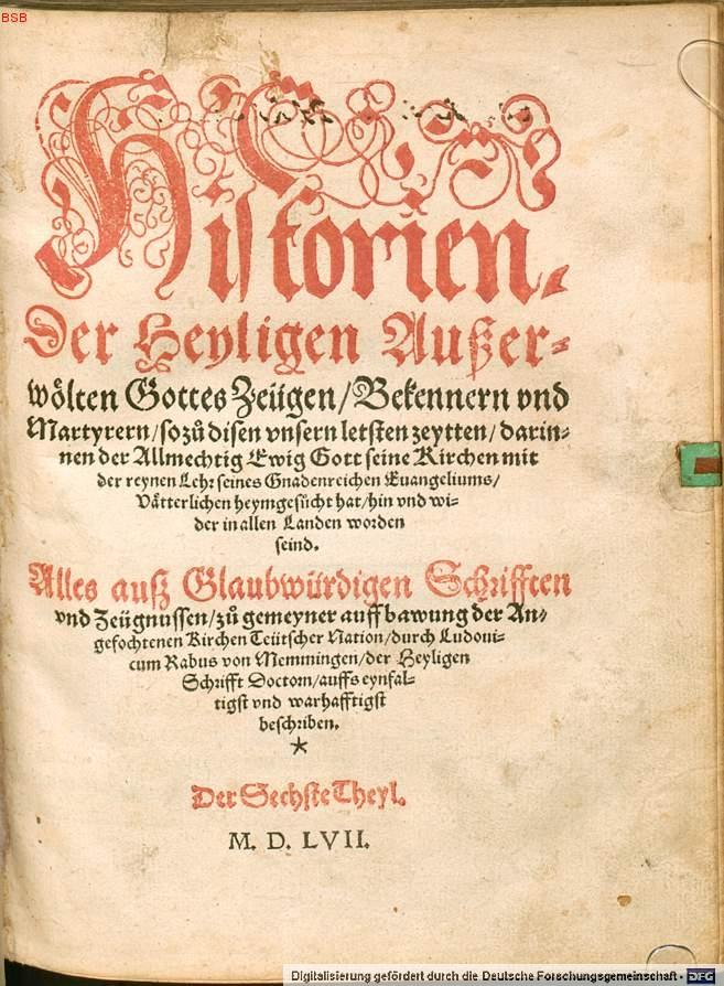 Title page of the final volume 6 of ''Historien der Heyligen'', 1557.