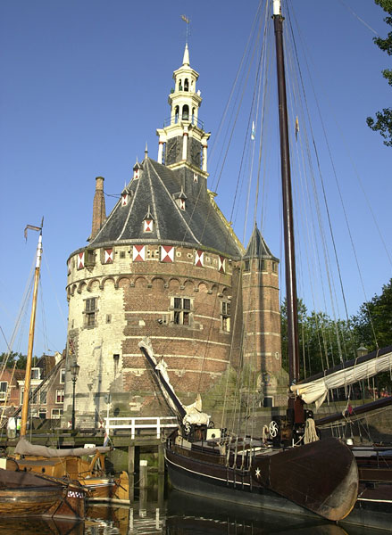 The Hoofdtoren (harbour) from the lake
