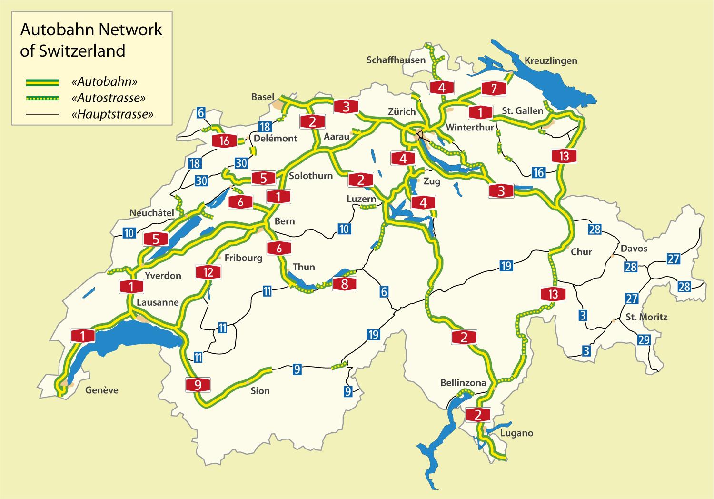 Motorway Map Of France.Highways In Switzerland Motorway Maps Road Tolls Maximum Speed