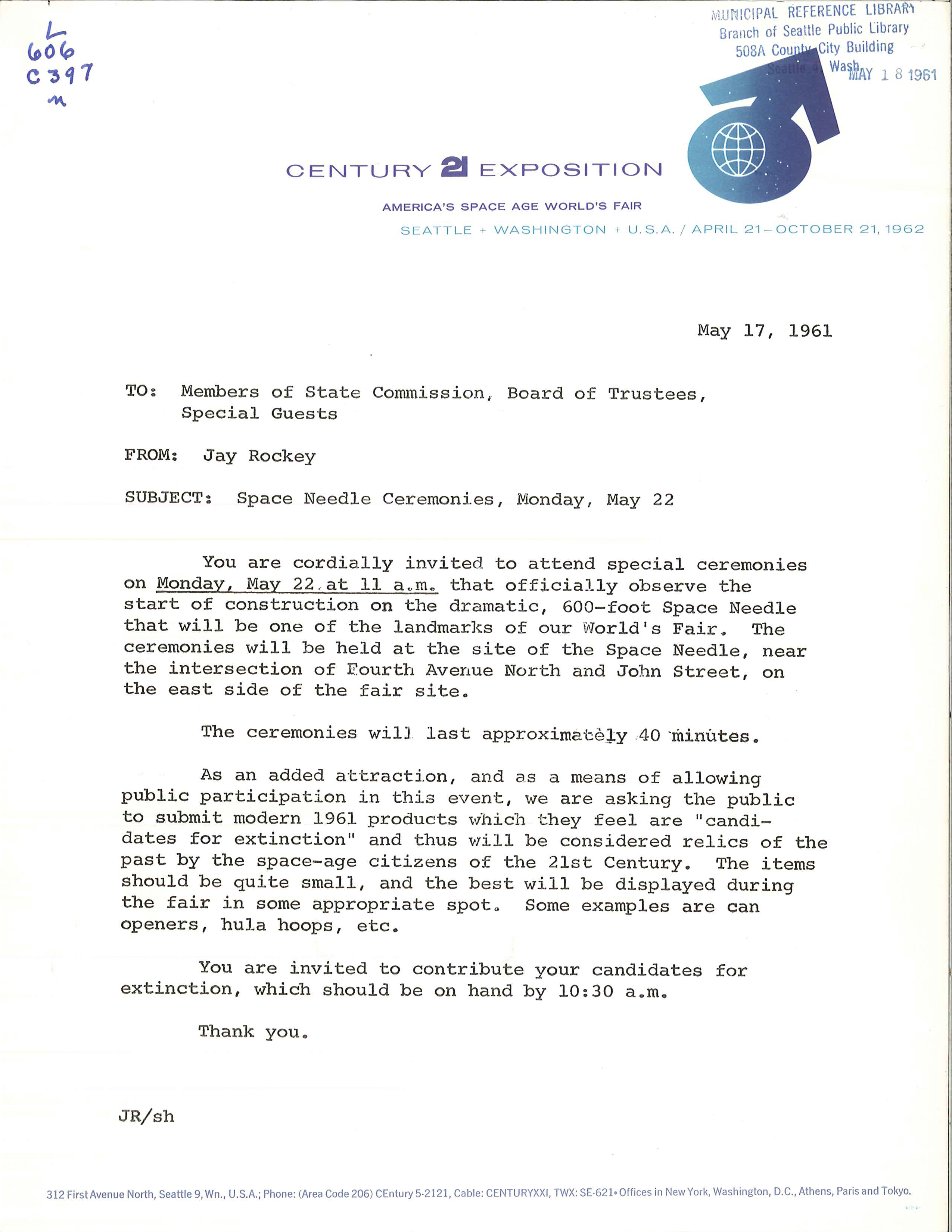 File:Invitation to Space Needle groundbreaking, 1961.jpg ...