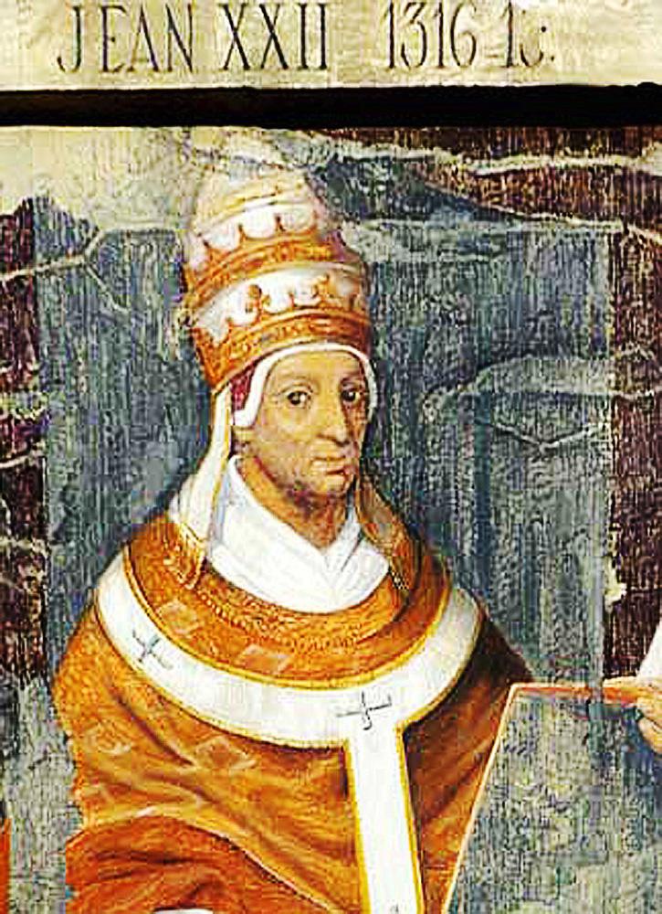 Zeitgenössische Darstellung Papst Johannes' XXII. Avignon, Archives iconographiques du palais du Roure.