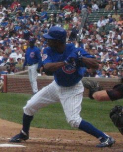 Pierre batting for the Cubs in 2006.