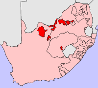 Location of Bophuthatswana