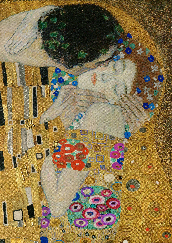 """Nella foto: particolare del dipinto """"Il bacio"""" di Klimt"""