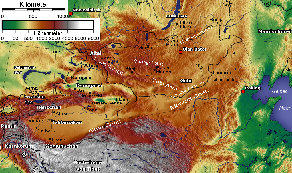 China Karte Physisch.Tian Shan Wikipedia