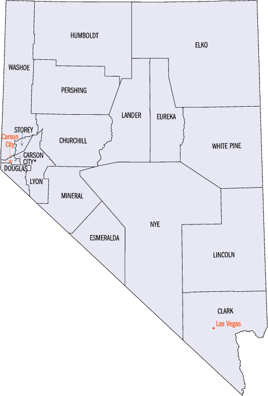 Nevada Statistical Areas Wikipedia - Map of nevada counties