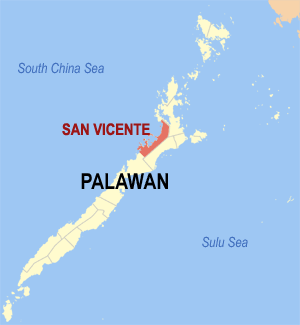 Map of Palawan showing the location of San Vicente