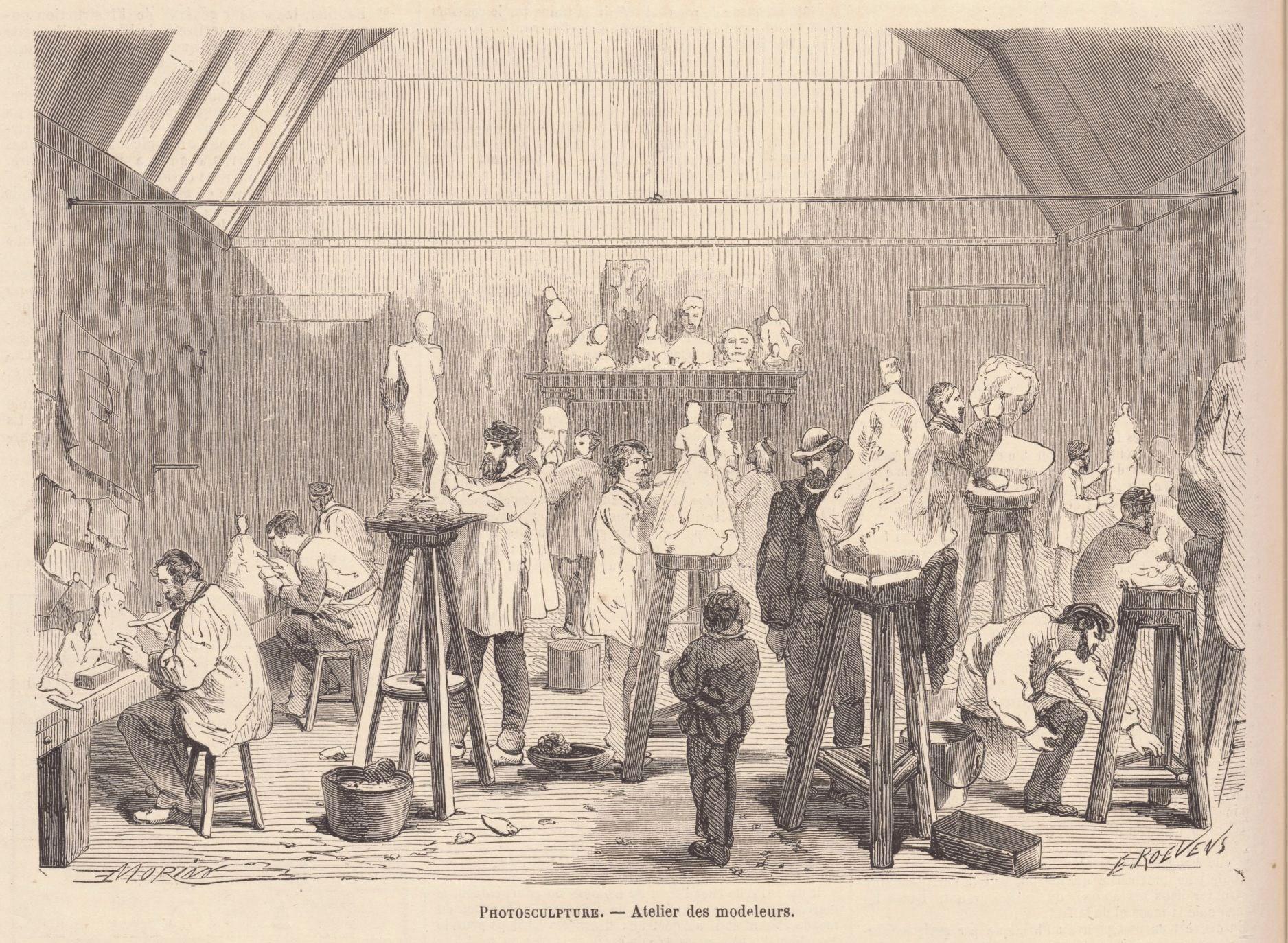 Le scanner existait déjà en 1860 ! Photosculpture_-_Atelier_des_modeleurs_-_Le_Monde_illustré_-_31_décembre_1864