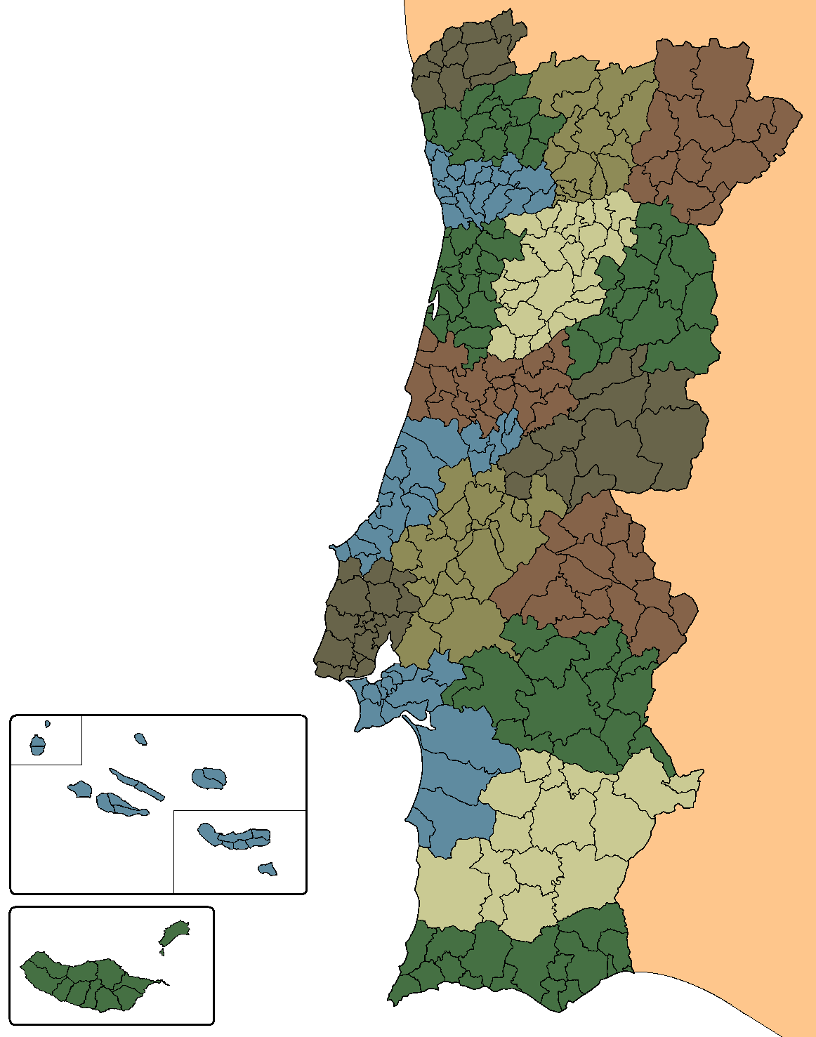 Municipalities Of Portugal Wikipedia - Portugal map outline