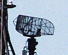 Surveillance radar antenna SPS-10 radar antenna on a Knox class frigate.jpg