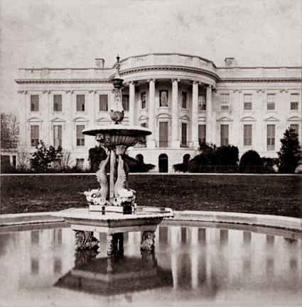 A C 1868 Stereograph Showing The Earliest Fountain On South Lawn